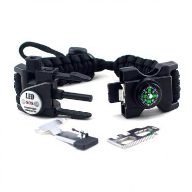 paracord survival armband zwart
